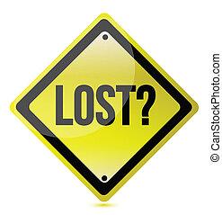 Yellow lost sign illustration design