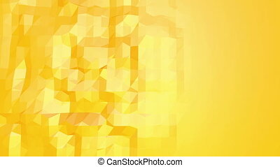 Yellow low poly background oscillating. Abstract low poly surface as fractal background in stylish low poly design. Polygonal mosaic background with vertex, spikes. Free space