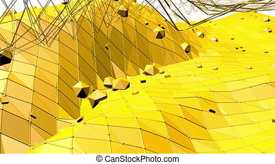 Yellow low poly background oscillating. Abstract low poly surface as psychedelic background in stylish low poly design. Polygonal mosaic background with vertex, spikes. Modern 3D design.