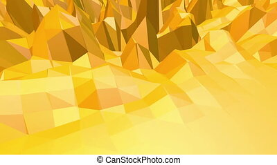 Yellow low poly background pulsating. Abstract low poly surface as fractal background in stylish low poly design. Polygonal mosaic background with vertex, spikes. Free space