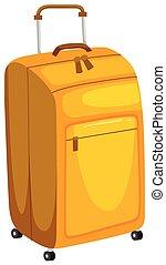 Yellow Luggage on White Background