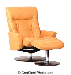 Yellow luxury leather recliner with footstool. Isolated on white.