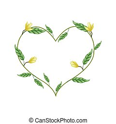 Yellow Magnolia Blossoms in A Heart Shape - Love Concept,...