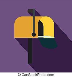 Yellow mail box icon, flat style