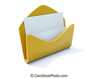 Yellow mail icon isolated on white