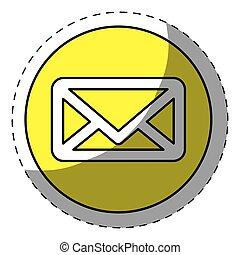 Yellow mail symbol button icon