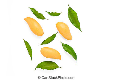 Yellow mango and leaf on white background.