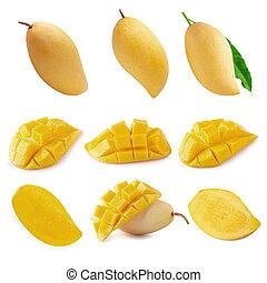 Yellow Mango fruit Isolated on white background