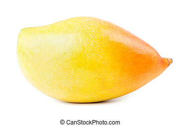 Yellow mango fruit isolated - Ripe yellow mango fruit...
