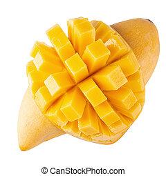 Yellow mango isolated on a white background