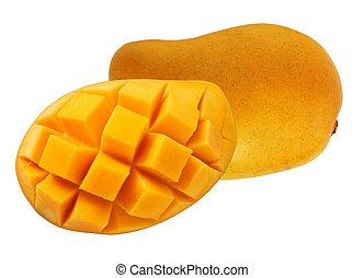 Yellow mango with cube cut