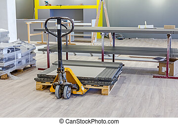 Yellow manually hydraulic forklift for pallet stacker, sack truck