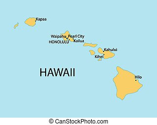yellow map of Hawaii