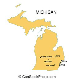 yellow map of Michigan with indication of largest cities
