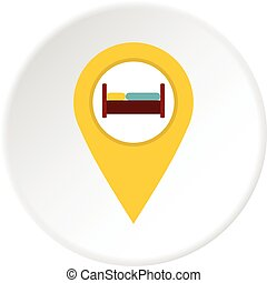 Yellow map pointer with symbol hotel icon circle