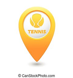 Yellow map pointer with tennis icon
