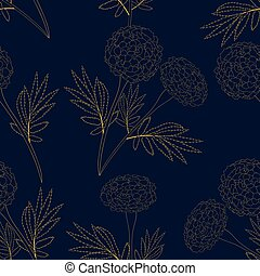 Yellow Marigold on Indigo Blue Background. Vector...