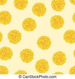 Yellow Marigold On Ivory Beige Background