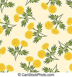 Yellow Marigold Seamless on Beige Ivory Background