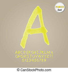 Yellow Marker Alphabet and Digit Vector