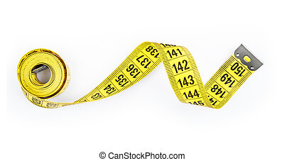 Yellow measure tape Isolated over white.