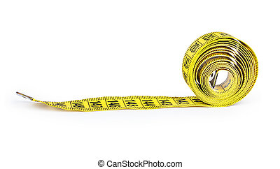 Yellow measure tape. Isolated over white.