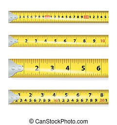Yellow Measure Tape On White Background Vector