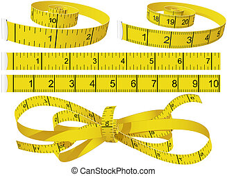 Yellow Measuring Tapes set in different shape in centimeters and inches