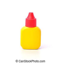 Yellow Medicine Bottles on white background