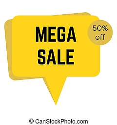 Yellow mega sale sticker with text
