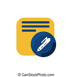 yellow memo and pen button icon and logo vector