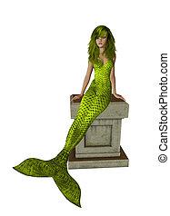 Yellow Mermaid Sitting On A Pedestal - Yellow mermaid...