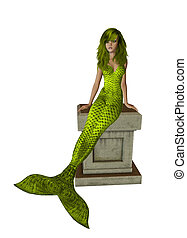 Yellow Mermaid Sitting On A Pedestal - Yellow mermaid...