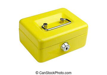 Yellow metal box lock on a white background