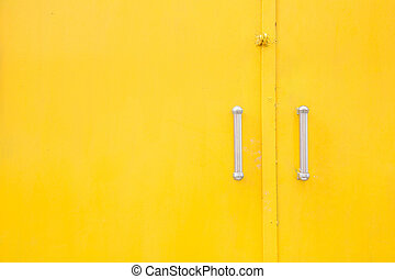 Yellow metal door background
