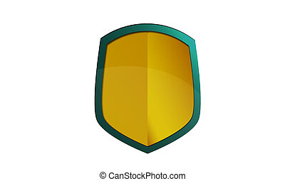 Yellow metal shield icon illustration isolated