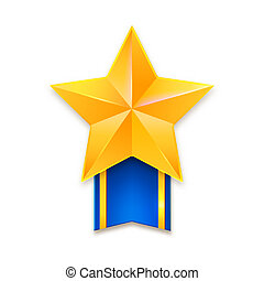 Yellow metal star with blue ribbon and gold stripes. Golden star with ribbon, awards isolated on white background, 3D illustration