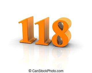 yellow metallic number 118 on white background. digitally generated image.