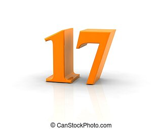 number 17 - yellow metallic number 17 on white background. ...