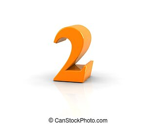 number 2 - yellow metallic number 2 on white background. ...