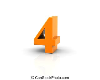 number 4 - yellow metallic number 4 on white background. ...