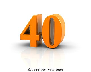number 40 - yellow metallic number 40 on white background. ...