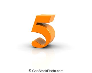 number 5 - yellow metallic number 5 on white background. ...