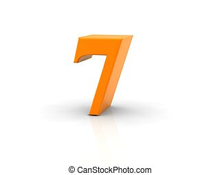 number 7 - yellow metallic number 7 on white background. ...