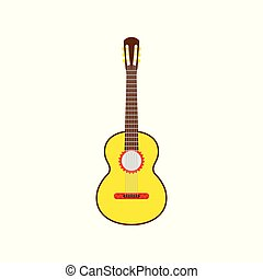 Yellow Mexican guitar. Vector isolated illustration on white background.