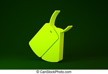 Yellow Military dog tags icon isolated on green background. Identity tags icon. Army sign. Minimalism concept. 3d illustration 3D render