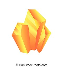 Yellow mineral, crystal, gem, precious gemstone or semiprecious stone vector Illustration on a white background