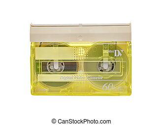 Yellow mini DV cassette on white background