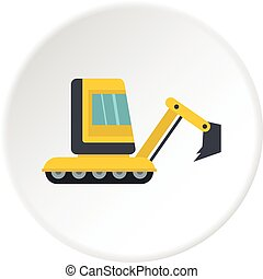 Yellow mini excavator icon circle