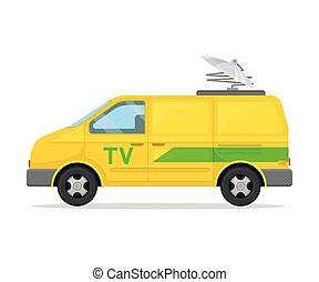Yellow minibus with a green stripe. Vector illustration on white background.